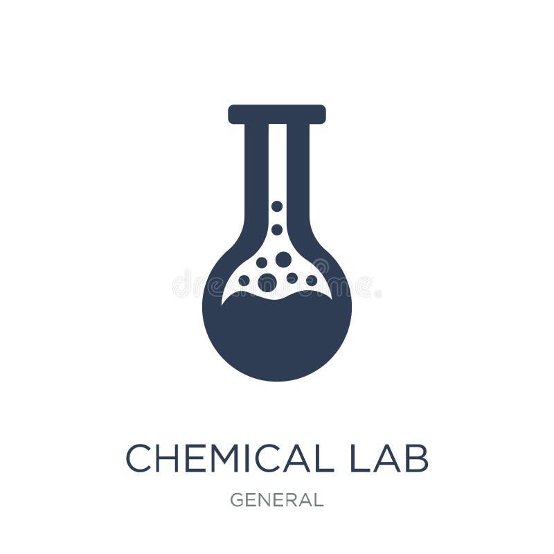 Icona chimica del laboratorio Icona chimica del laboratorio di vettore piano d'avanguardia su bianco illustrazione vettoriale