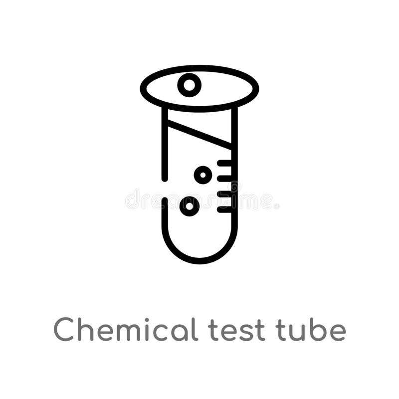 icona chimica di vettore della provetta del profilo linea semplice nera isolata illustrazione dell'elemento dal concetto di istru illustrazione di stock