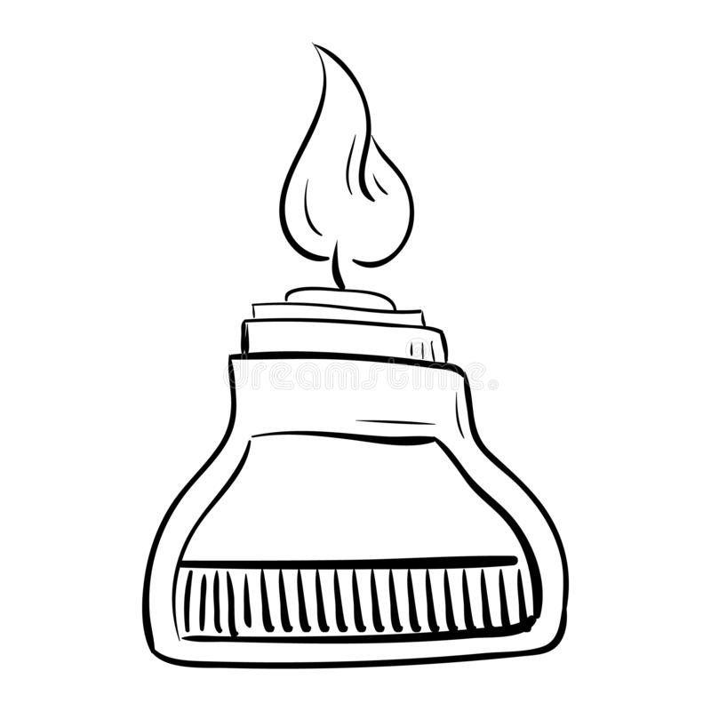 Icona chimica disegnata a mano di scarabocchio della lampada Schizzo nero disegnato a mano Simbolo del fumetto del segno Elemento illustrazione vettoriale