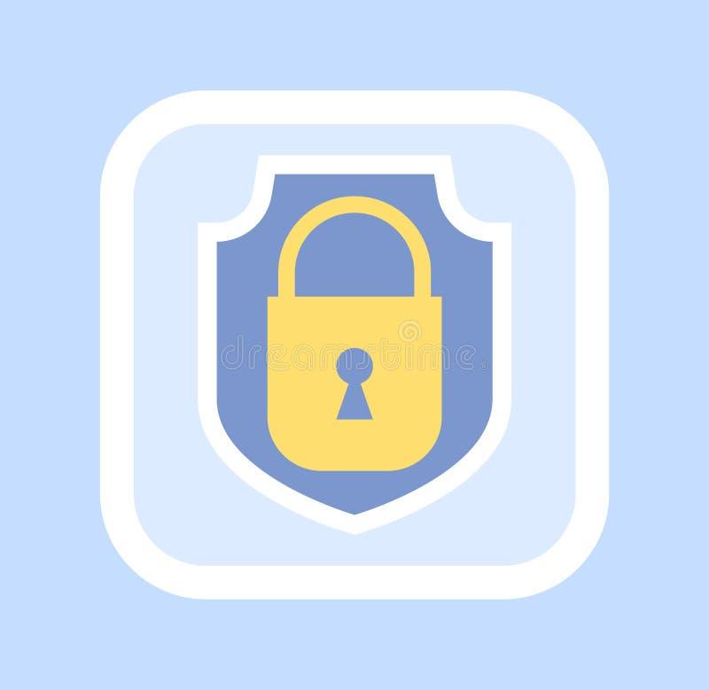 Icona chiusa dorata del lucchetto, vettore confidenziale illustrazione vettoriale