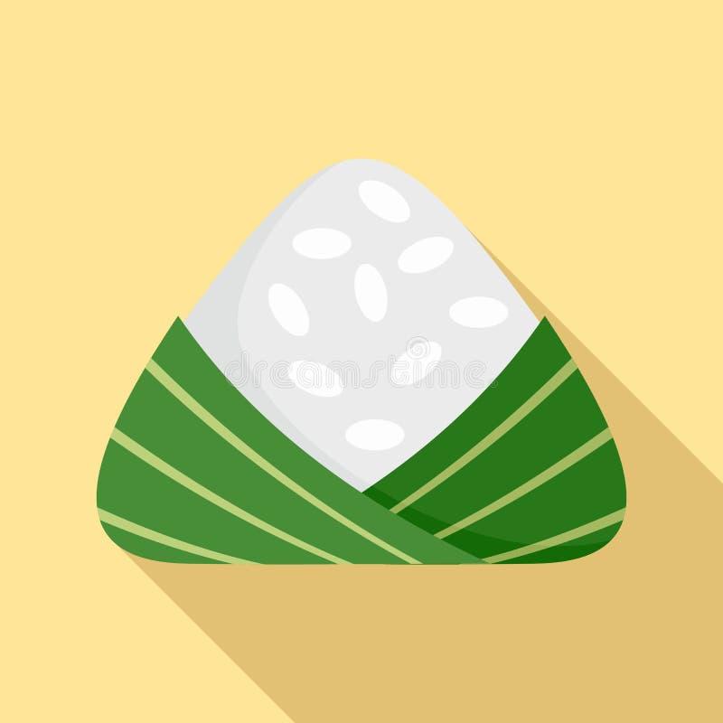 Icona cinese degli gnocchi del riso, stile piano illustrazione di stock