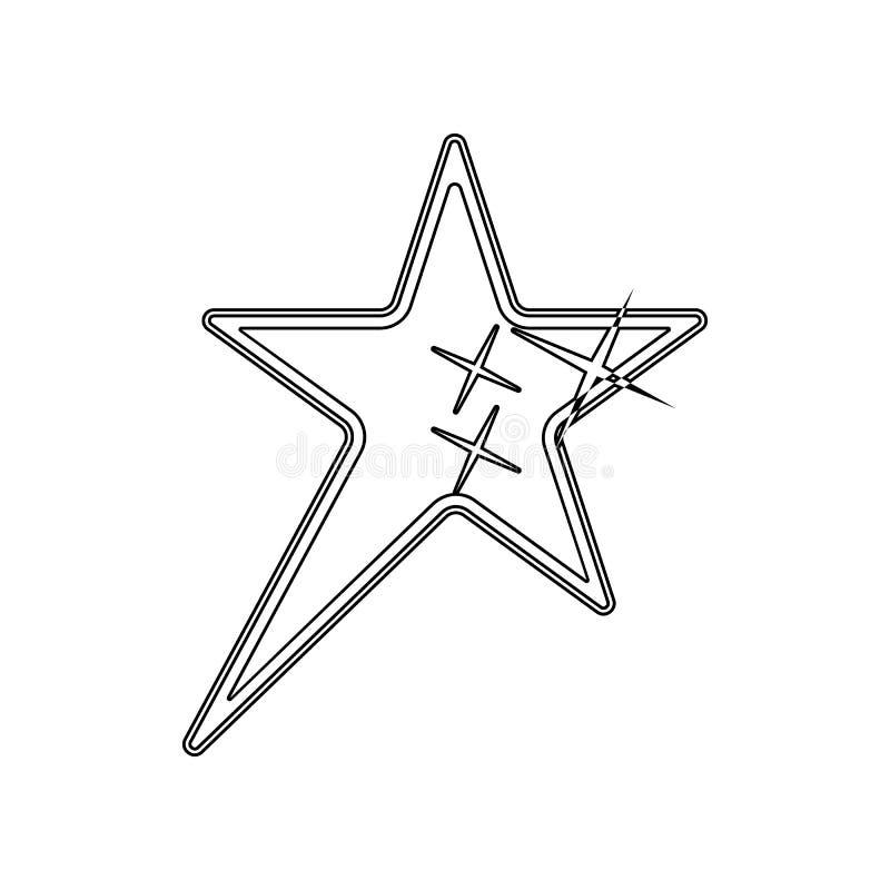 Icona a cinque punte della stella Elemento delle stelle per il concetto e l'icona mobili dei apps di web _profilo, sottile linea  illustrazione di stock