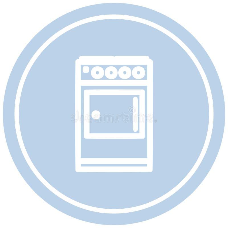 icona circolare del fornello della cucina illustrazione vettoriale