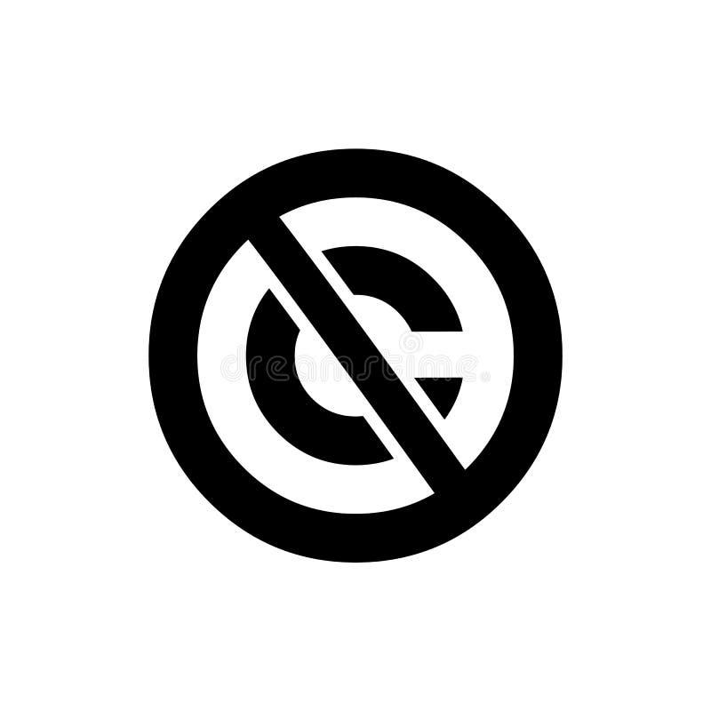 Icona circolare del pubblico dominio Segno depennato di marchio di fabbrica della lettera di C royalty illustrazione gratis