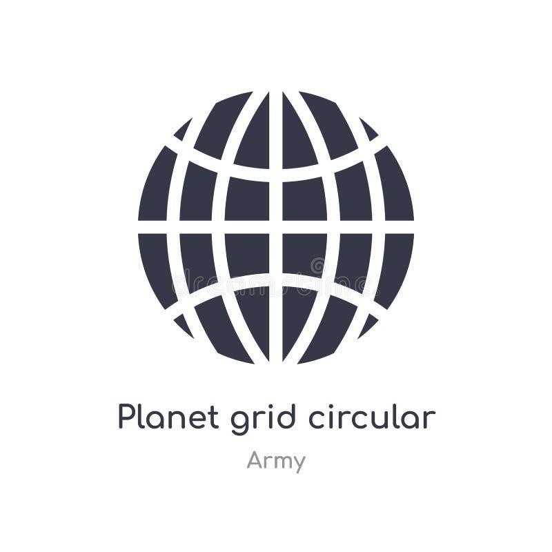 icona circolare di griglia del pianeta illustrazione circolare isolata di vettore dell'icona di griglia del pianeta dalla raccolt royalty illustrazione gratis