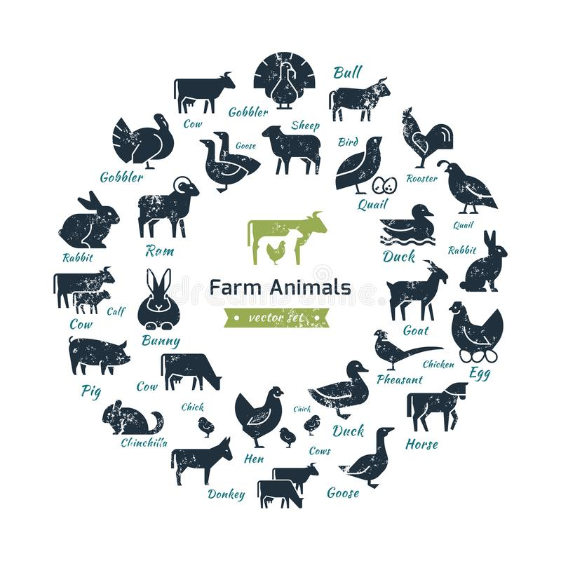 Icona circolare di vettore messa in uno stile piano delle siluette degli animali da allevamento illustrazione vettoriale