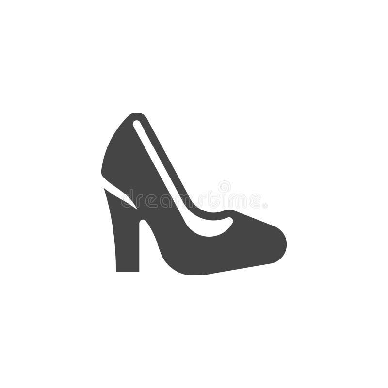 Icona classica di glifo della scarpa delle donne Accessorio delle signore, roba casuale del guardaroba femminile Elemento di codi illustrazione vettoriale