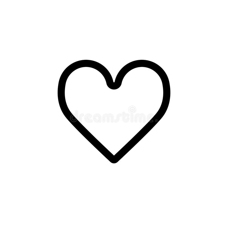 Icona classica di vettore del cuore Illustrazione in bianco e nero di amore Icona lineare del profilo di cuore illustrazione di stock