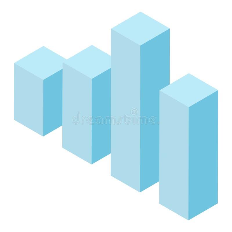 Icona colonna grafico blu, stile isometrico illustrazione vettoriale