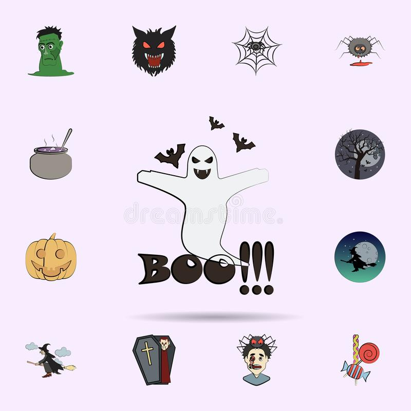 icona colorata fantasma di orrore Insieme universale delle icone di Halloween per il web ed il cellulare illustrazione di stock