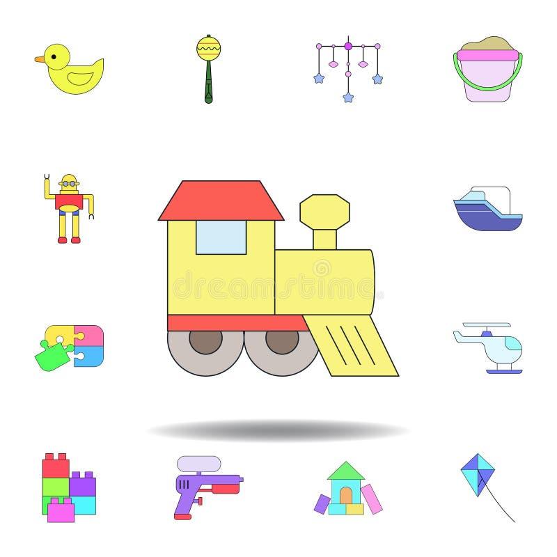 Icona colorata treno del giocattolo del fumetto metta delle icone dell'illustrazione dei giocattoli dei bambini i segni, simboli  royalty illustrazione gratis