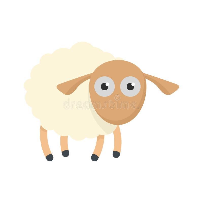 Icona colpita delle pecore, stile piano illustrazione vettoriale