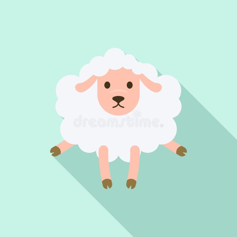 Icona colpita delle pecore, stile piano illustrazione di stock
