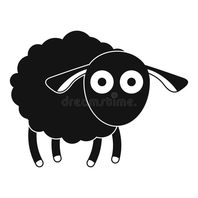 Icona colpita delle pecore, stile semplice illustrazione di stock