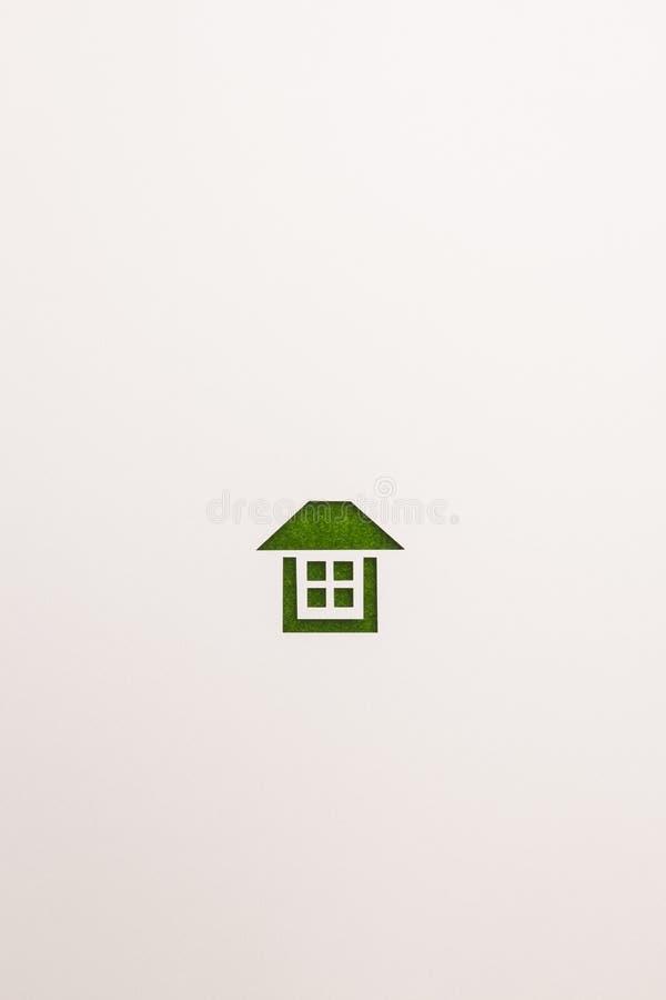 Icona completa della casa del velluto verde su fondo bianco fotografie stock