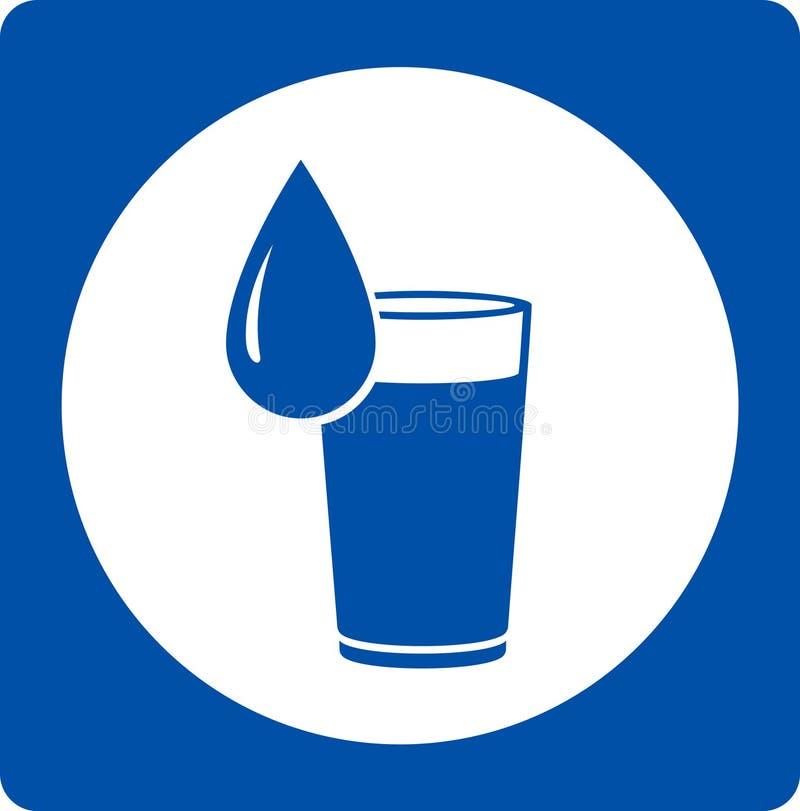 Icona con goccia di acqua e vetro royalty illustrazione gratis