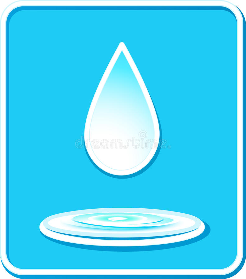 Icona con goccia e la spruzzata dell'acqua illustrazione vettoriale