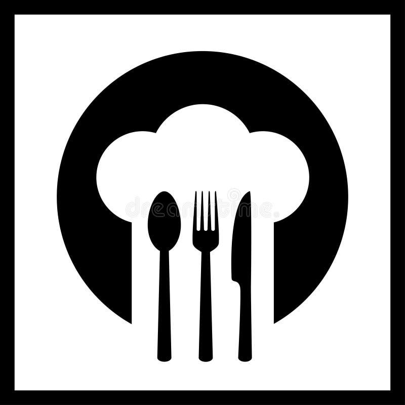 Icona con il cappello del cuoco unico royalty illustrazione gratis