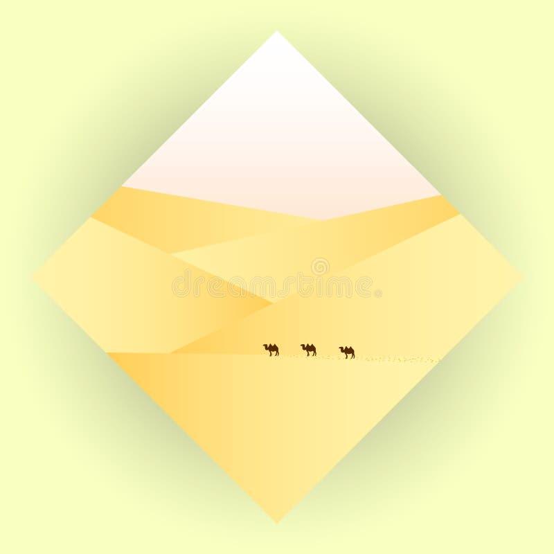 Icona con l'immagine del deserto e dei cammelli illustrazione di stock