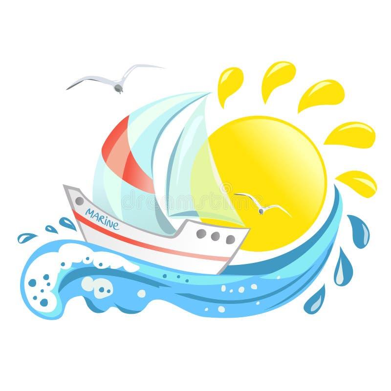 Icona con l'yacht, l'onda ed il sole illustrazione vettoriale
