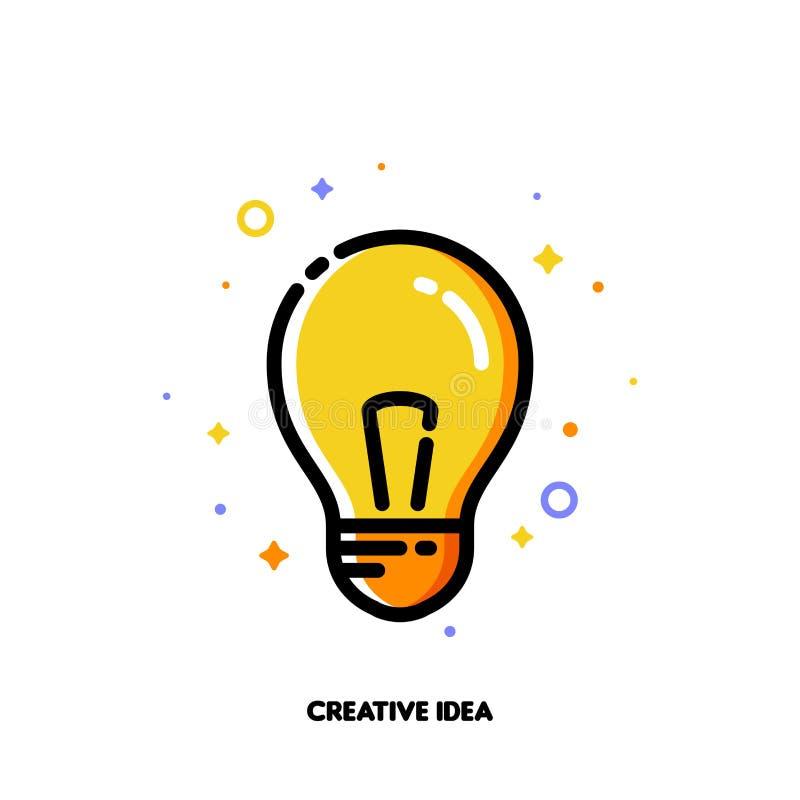 Icona con la lampadina come simbolo creativo di idea per la giusta soluzione illustrazione vettoriale