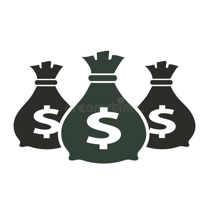 Icona con tre borse, vettore dei soldi. royalty illustrazione gratis