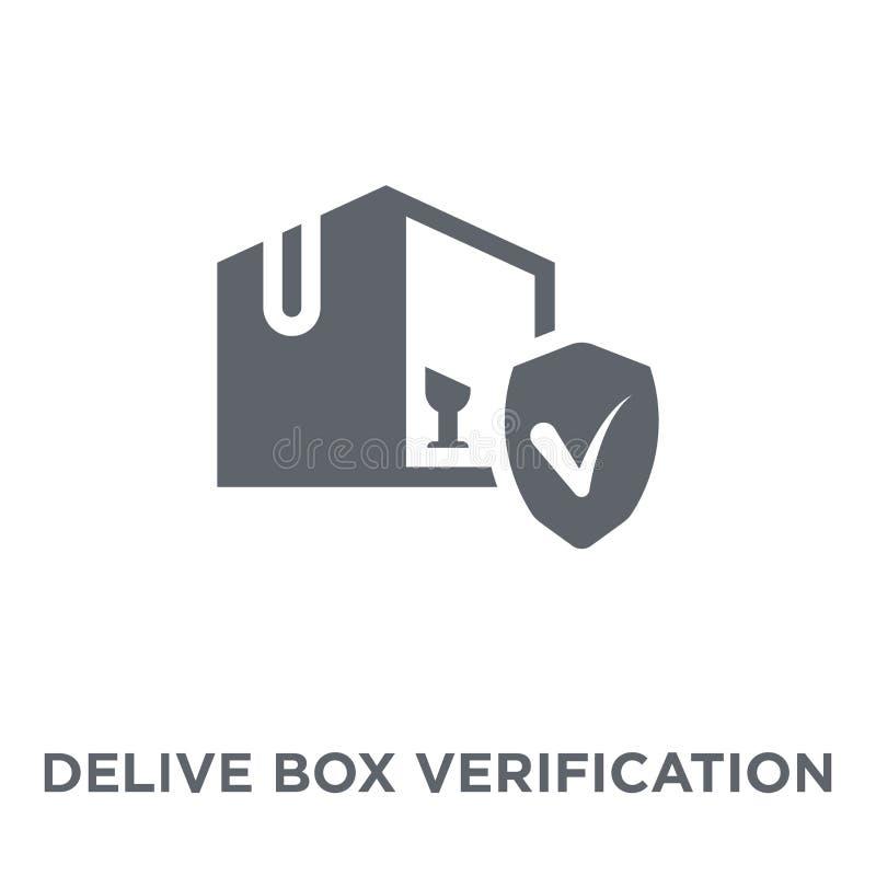 Icona consegnata di verifica della scatola dalla consegna e dal colle logistico illustrazione di stock