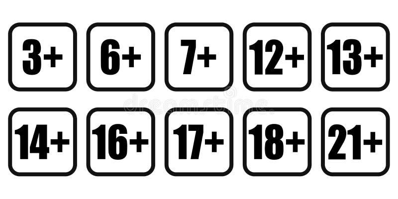Icona contenta degli adulti dei segni di restrizione di età Vettore eps10 dell'insieme dell'icona di età di limite illustrazione vettoriale