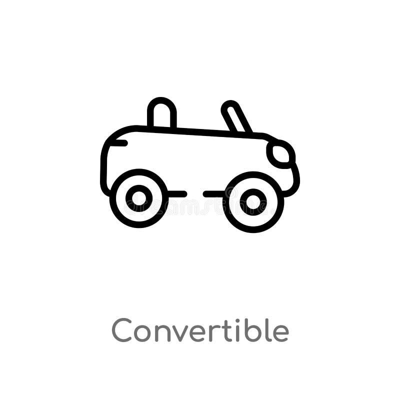 icona convertibile di vettore del profilo linea semplice nera isolata illustrazione dell'elemento dal concetto del trasporto Vett illustrazione di stock