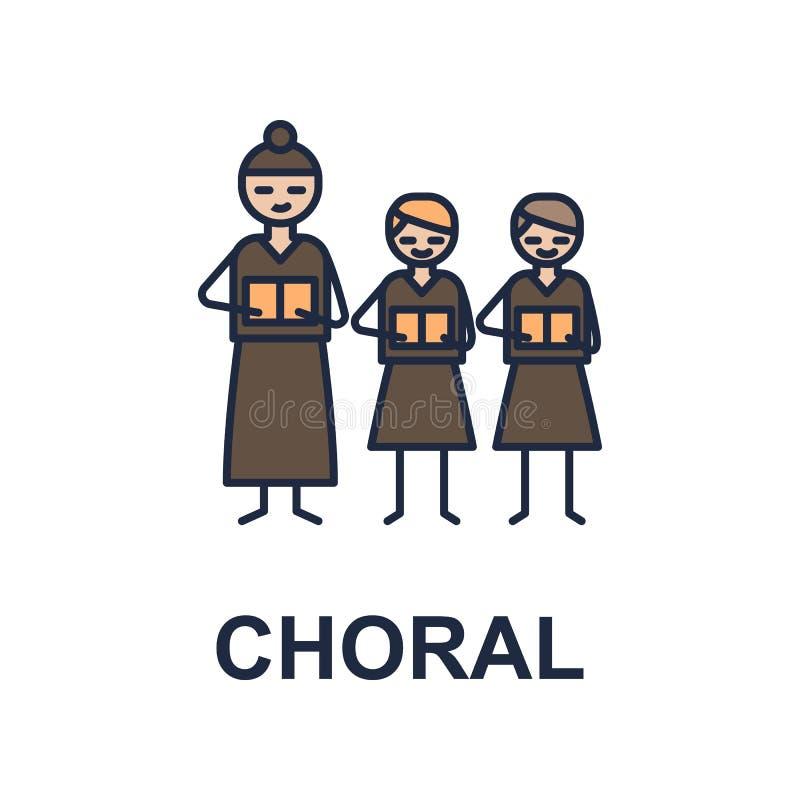 icona corale del musicista Elemento dell'icona di stile di musica per i apps mobili di web e di concetto L'icona corale colorata  royalty illustrazione gratis