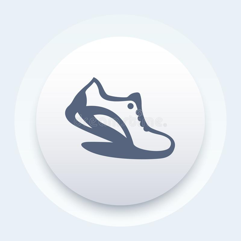 Icona corrente, elemento di logo con la scarpa da corsa illustrazione di stock