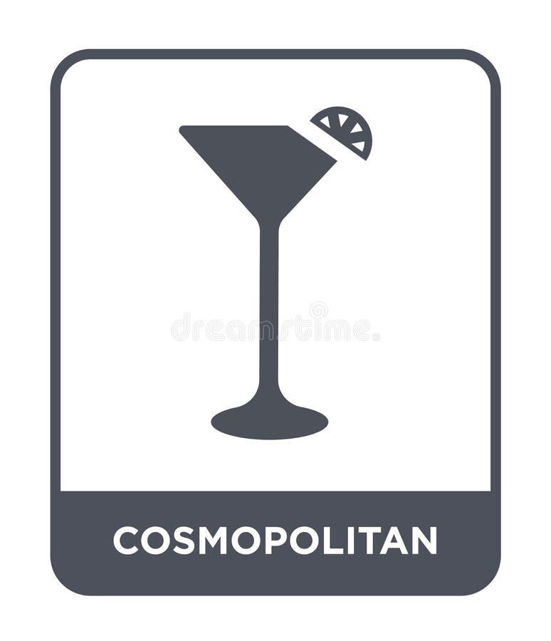 icona cosmopolita nello stile d'avanguardia di progettazione icona cosmopolita isolata su fondo bianco icona cosmopolita di vetto illustrazione di stock