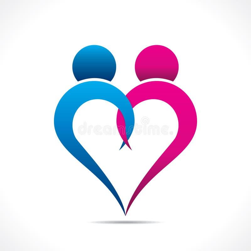 Icona creativa delle coppie o progettazione felice di giorno di S. Valentino royalty illustrazione gratis