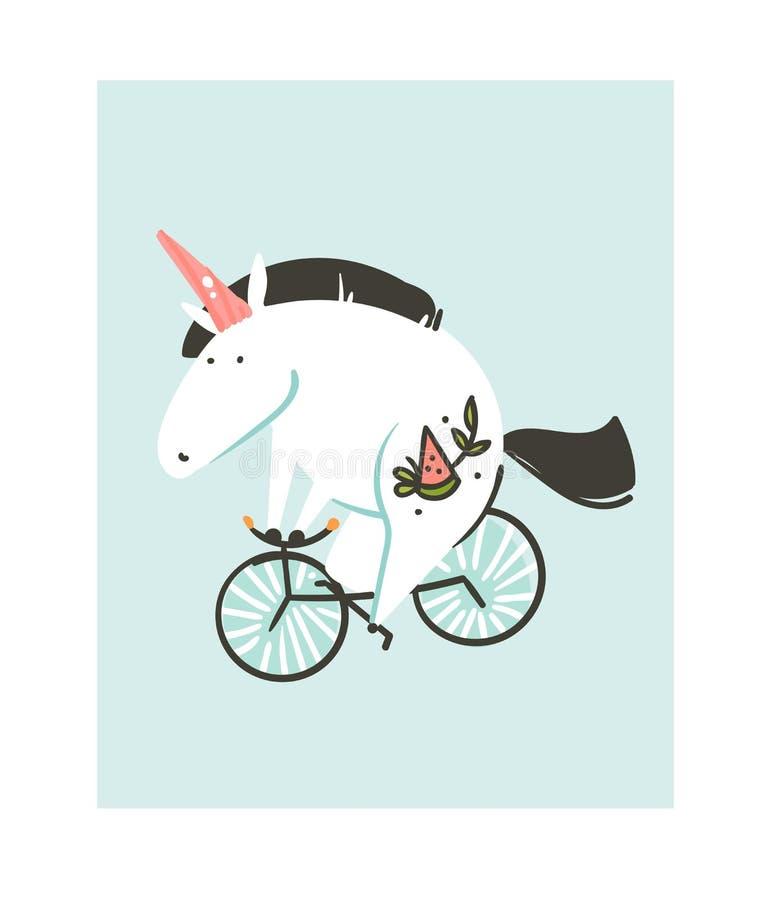 Icona creativa grafica delle illustrazioni del fumetto dell'estratto disegnato a mano di vettore con l'unicorno semplice con la g royalty illustrazione gratis