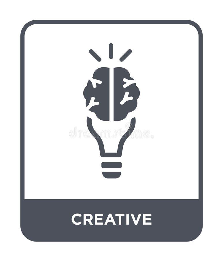 icona creativa nello stile d'avanguardia di progettazione Icona creativa isolata su fondo bianco piano semplice e moderno dell'ic illustrazione vettoriale