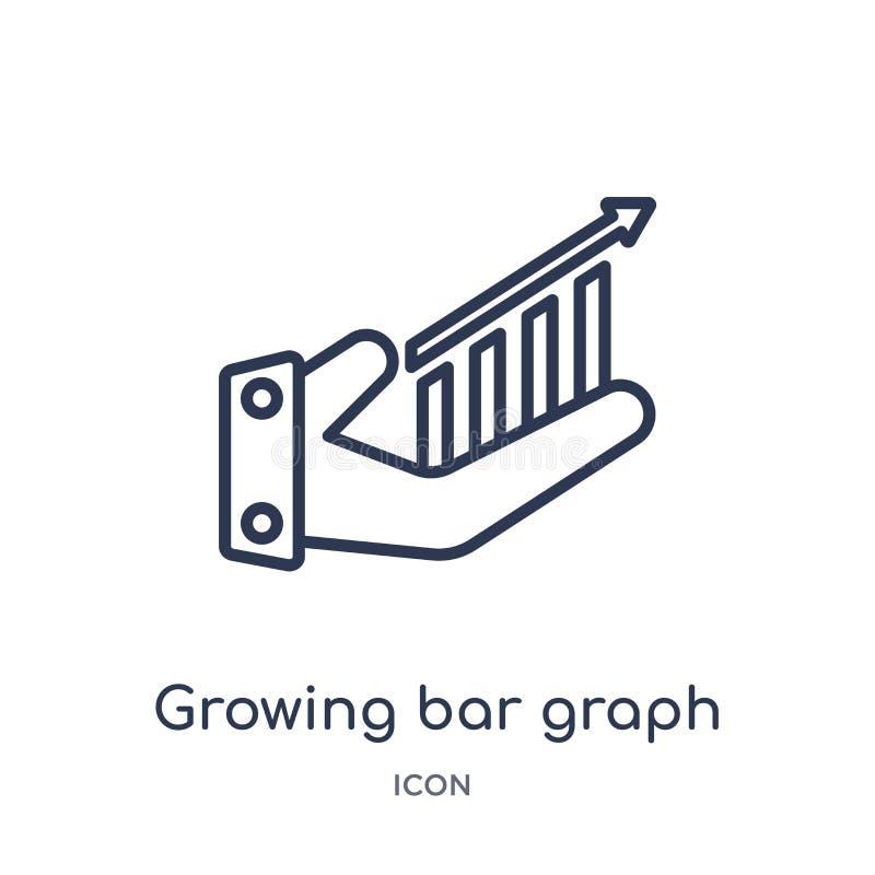Icona crescente lineare dell'istogramma dalla raccolta del profilo di affari Linea sottile icona crescente dell'istogramma isolat illustrazione di stock