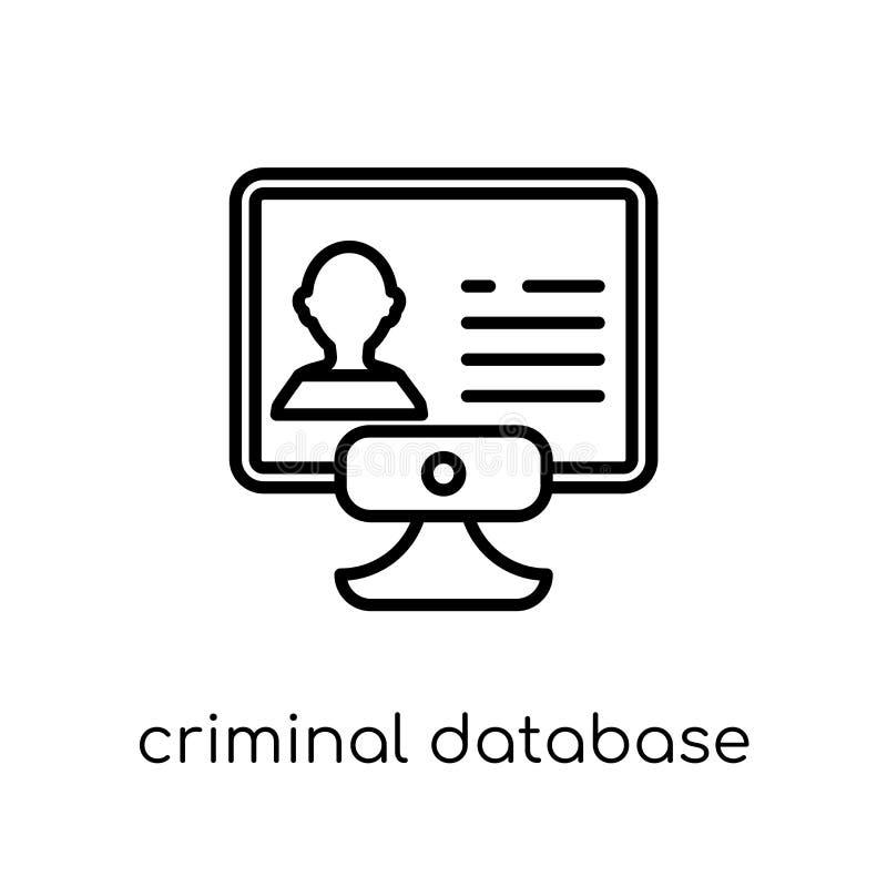 Icona criminale della base di dati Vettore lineare piano moderno d'avanguardia Crimina illustrazione vettoriale