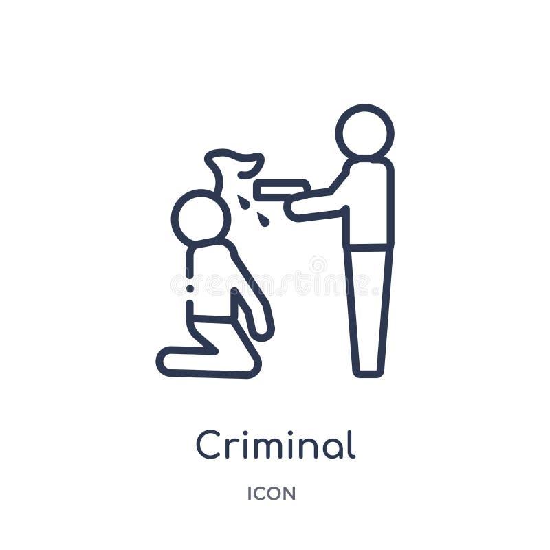 Icona criminale lineare dalla raccolta del profilo della giustizia e di legge Linea sottile icona criminale isolata su fondo bian royalty illustrazione gratis