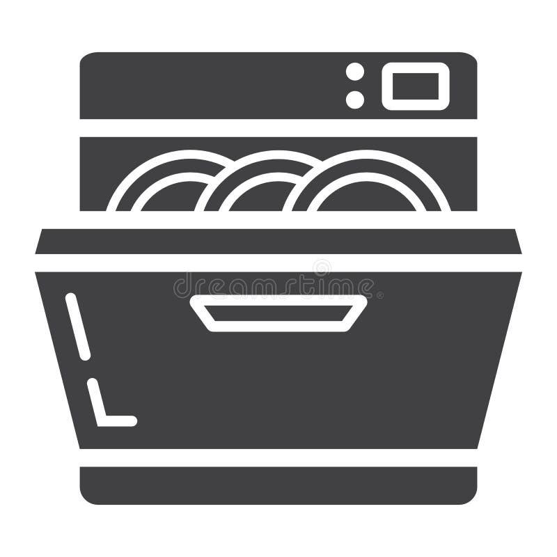Icona, cucina ed apparecchio solidi della lavastoviglie royalty illustrazione gratis