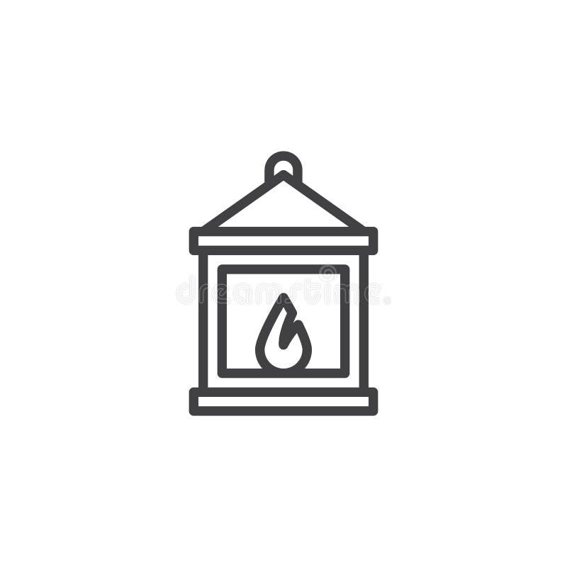 Icona d'annata del profilo della lanterna illustrazione di stock