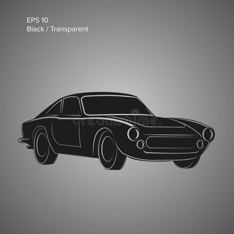 Icona d'annata dell'illustrazione di vettore dell'automobile sportiva Automobile classica europea illustrazione vettoriale