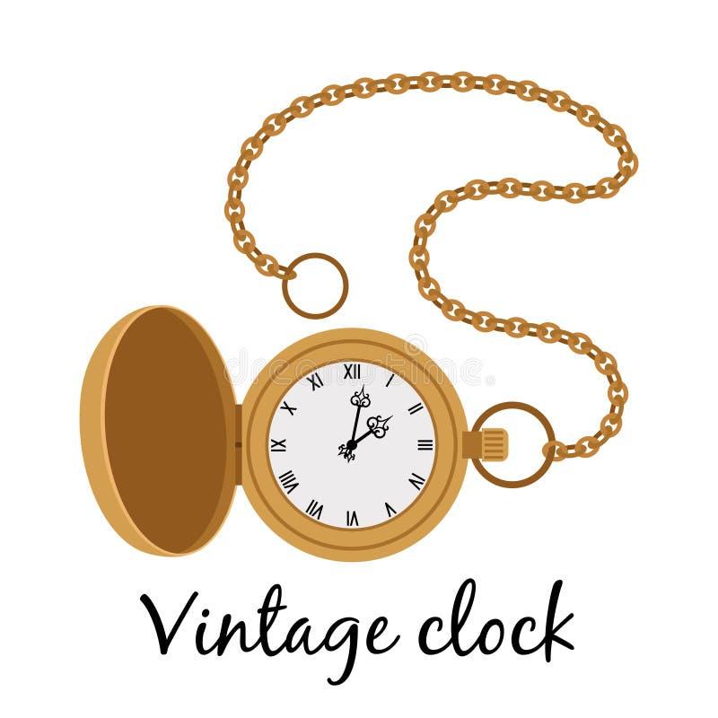 Icona d'annata dell'orologio di oro illustrazione di stock