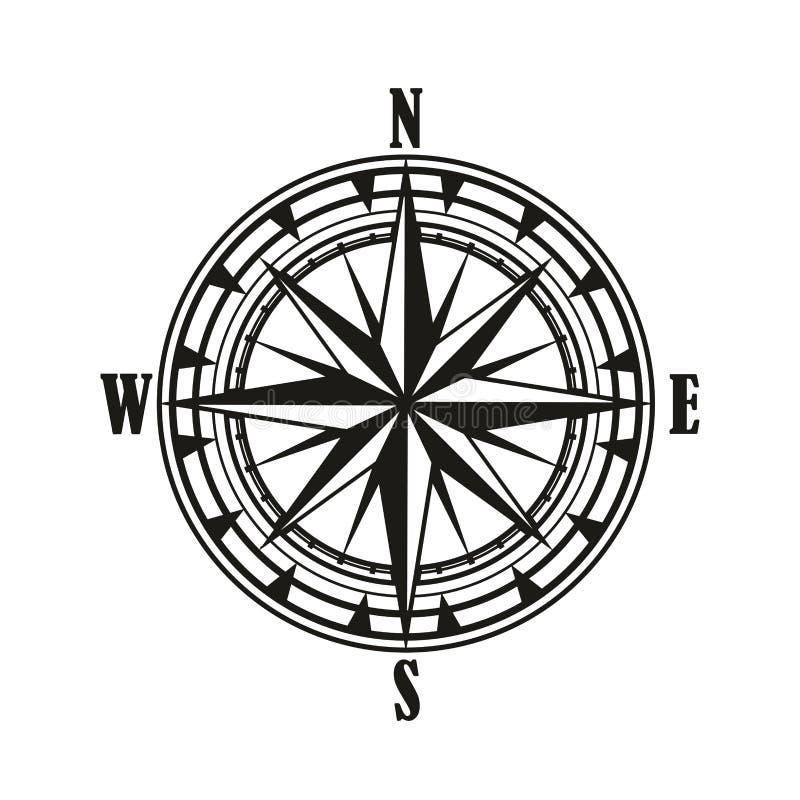Icona d'annata della rosa dei venti di bussola royalty illustrazione gratis