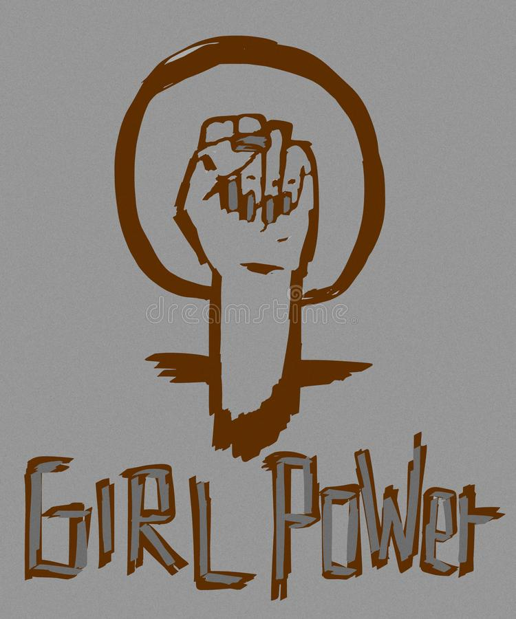 Icona d'annata di potere della ragazza illustrazione di stock