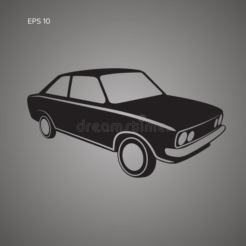 Icona d'annata europea di vettore dell'automobile Automobile sportiva d'annata Retro coupé illustrazione di stock