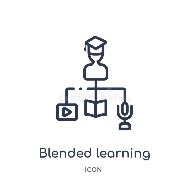 Icona d'apprendimento mescolata lineare dalla raccolta del profilo di istruzione e di Elearning Linea sottile mescolata imparando illustrazione di stock