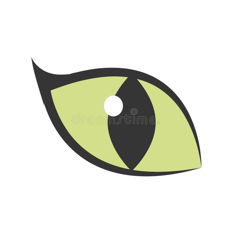 icona d'ardore del grande gatto dell'occhio verde illustrazione di stock