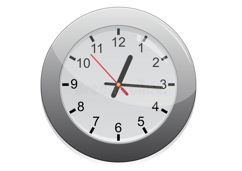 Icona d'argento dell'orologio di parete illustrazione vettoriale