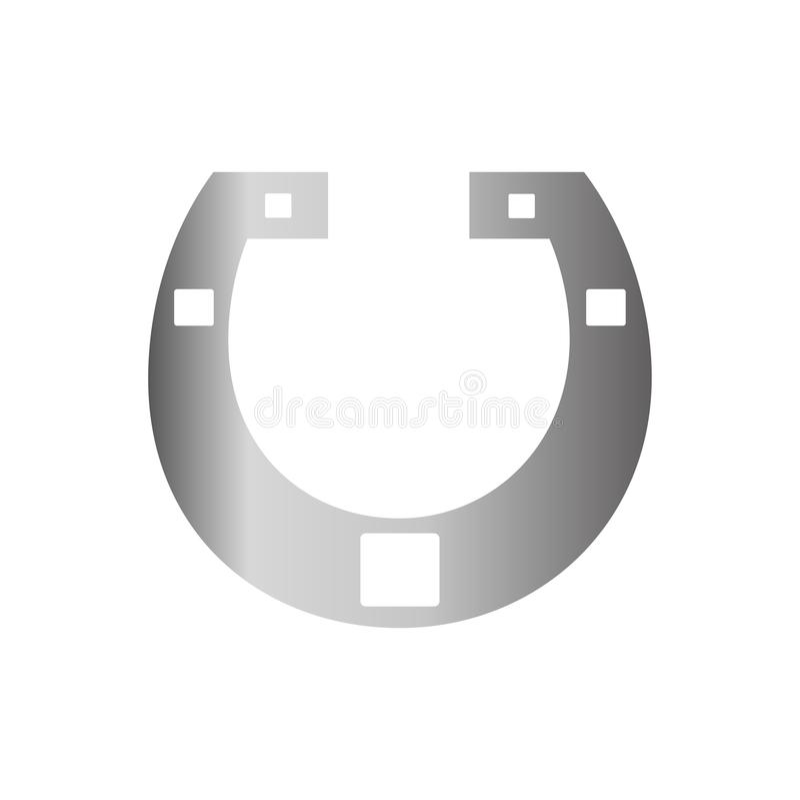 Icona d'argento della scarpa del cavallo su fondo per il grafico ed il web design Segno semplice di vettore Simbolo di concetto d illustrazione di stock