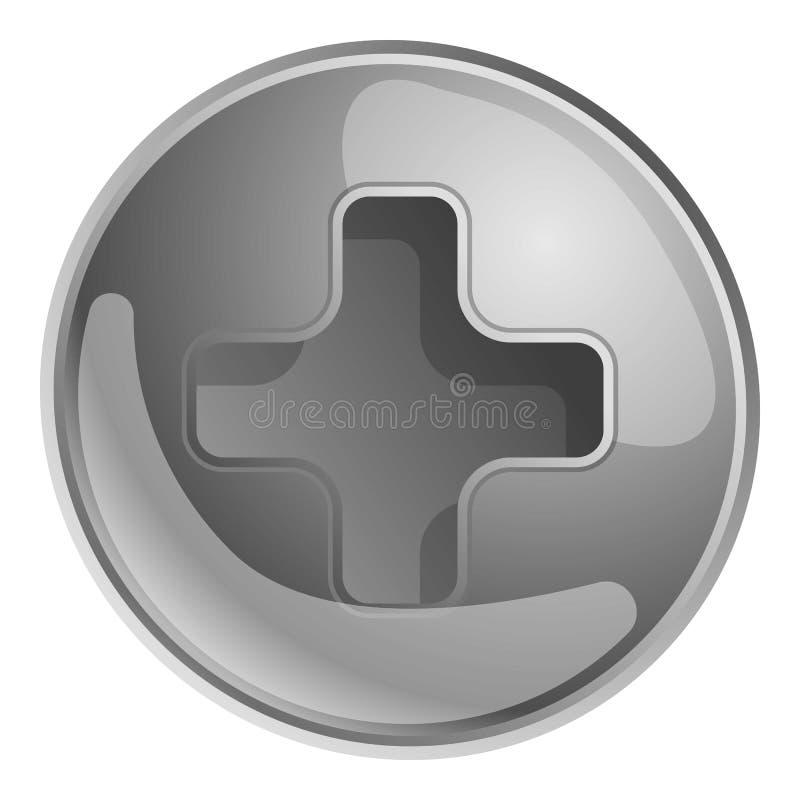 Icona d'argento della testa di vite 'phillips', stile del fumetto illustrazione di stock
